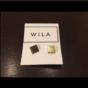 WILA Minimalist Square 14KGP Stud Earrings NWT